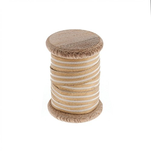 Striped Christmas Ribbon on Wooden Spool 3m Natural - per 3 metre roll
