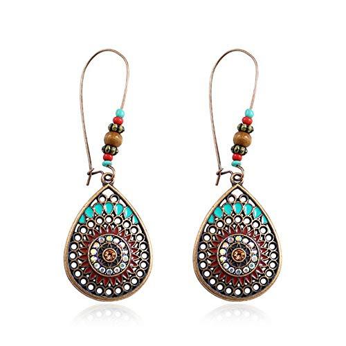 (1 Pair Vintage Boho Style Metal Water Drop Shape Geometric Pattern Ladies Earrings (Multicolor))