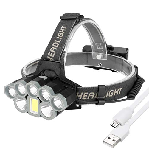 8LED Head Torch USB Rechargeable Head Torches, 90° Rotating Headlight, 6 Light Modes Waterproof AdjustableforRunning/Walking/Cycling/Fishing/Camping