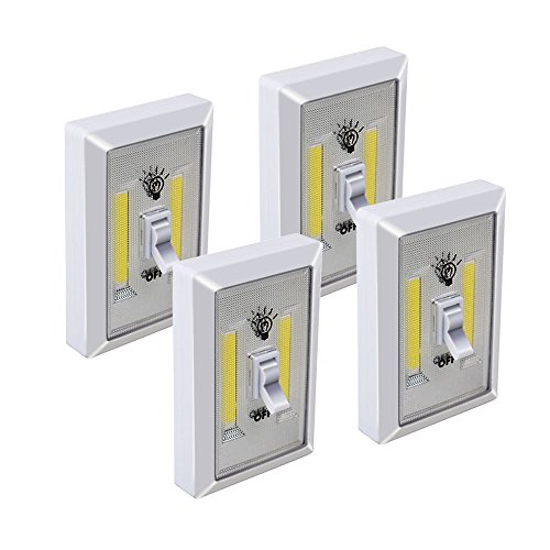 Light Cordless Switch - LINLUX COB LED Cordless Switch Light, Eyes Protection Adjustable Brightness Tap Light, Battery Operated Night lights for Cabinet, Shelf, Closet, Kitchen,RV,Car(Switch, 4 Pack)