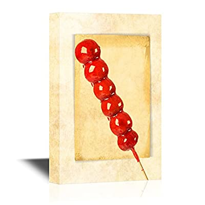 Chinese Culture Canvas Wall Art - Traditional Chinese Delicacy Sugar Coated Haws on a Stick - Gallery Wrap Modern Home Art | Ready to Hang - 12x18 inches