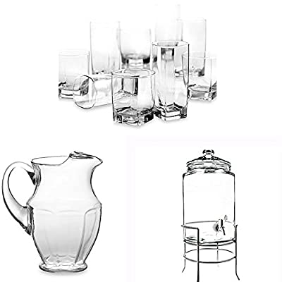 Dailyware Glassware, Glass Pitcher and Dispenser Set