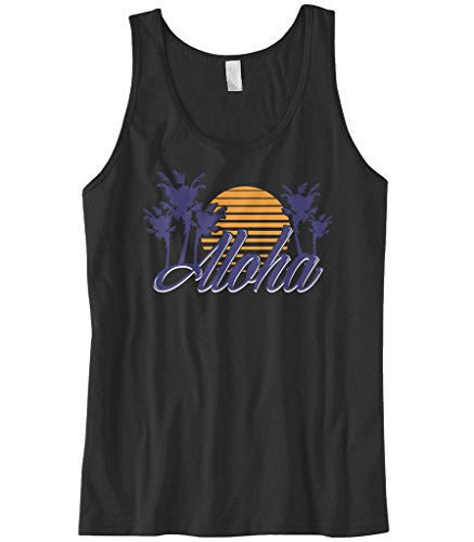 Cybertela Mens Aloha Hawaiian Hi Sunset Palm Tree Tank Top