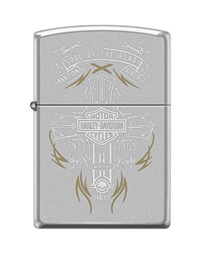 (Zippo Harley-Davidson 2Tone Cross Satin Chrome Pocket)