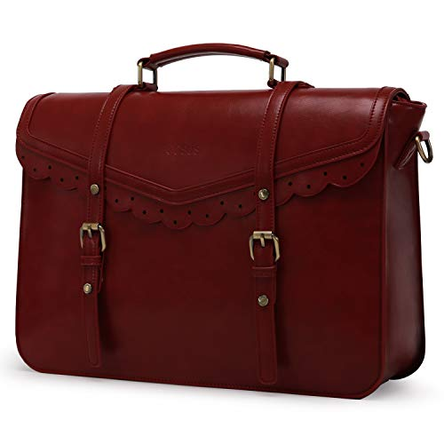 ECOSUSI Briefcase for Women Vegan Leather Laptop Bag 15.6 inch Messenger Bag for School Water Resistant Vintage Satchel Bag Red
