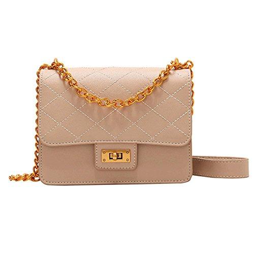 Buckle Closure Lingge Women Fashion Handbags Cross Body Bags Ladies Handbags Pu Handbag Chain Shoulder Bag Khaki Office
