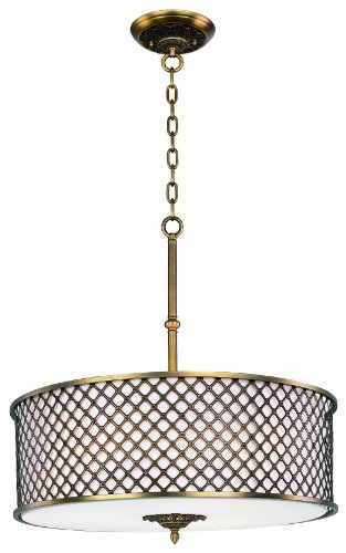 Maxim Lighting 22364OMNAB Six Light Drum Shade Pendant, Natural Aged Brass