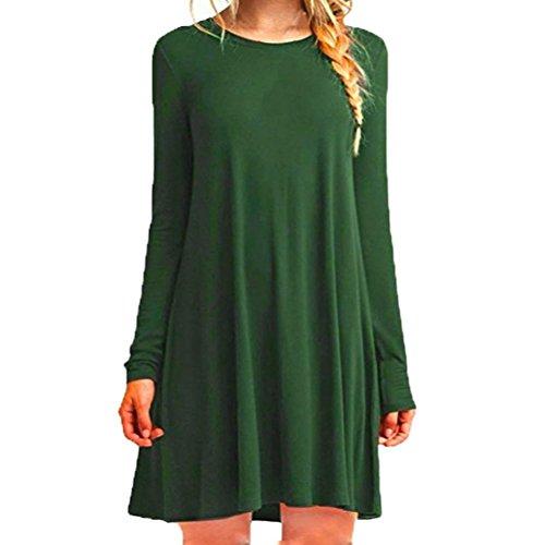 OverDose Mujeres sueltas ocasionales O-cuello de manga larga volantes mini vestido Verde