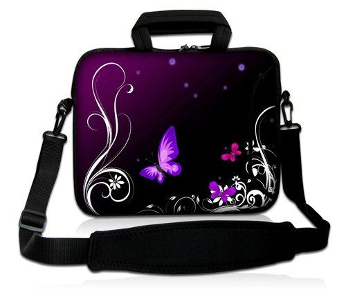 Luxburg® Design Funda bandolera Blanda Bolso Sleeve para Ordenador Portátil / MacBook de 17,3 pulgadas, motivo: Peces de colores Mariposa lila