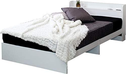 ベッドフレーム シングルベッド ホワイト 白 おしゃれ 北欧 シンプル スタイリッシュ 木製 コンセント付 ヘッドボード付 宮付 幅木よけ メラミン化粧板 床下すっきり (ホワイト シングル, フレームのみ)