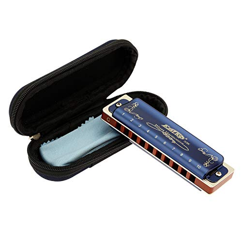 East top 10 Hole 20 Tone Diatonic Harmonica Key of C with Blue Case,Standard Harmonicas For Professional Player, Beginner, Students,Adults,Children, Kids,as Best Gift