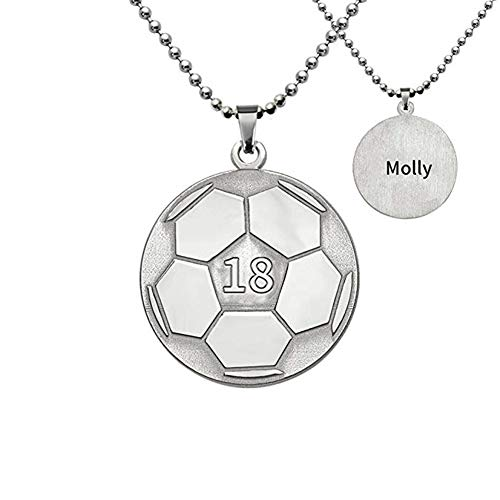 Elefezar Personalized Soccer Necklace in Stainless Steel Custom Any Number and Name,Sports Jewelry (Custom Soccer Necklace)