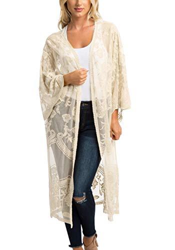 FaroDor Women's Flowy Bathing Suit Kimono Cardigan Lace Crochet Swimwear Floral Cover Ups
