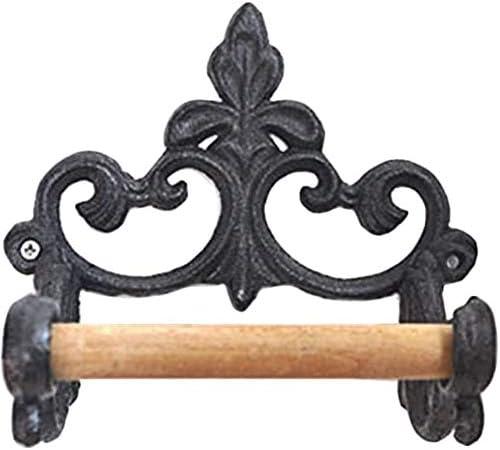 黒トイレットペーパーホルダートイレットペーパーホルダーの壁には、ペーパーホルダーRetromuster素材をマウント:鉄と木材のバスルームアクセサリー