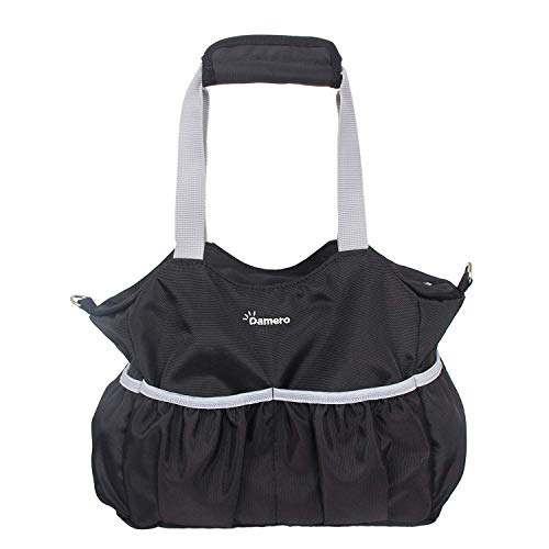 - Damero Small Diaper Tote Organizer Bag Pouch with Multiple Pockets and Stroller Straps (Black)