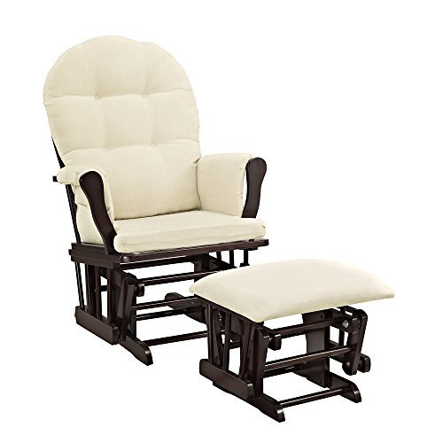 Windsor Glider and Ottoman Espresso Finish and Beige Cushions (Espresso) by Angel Line