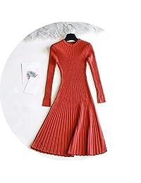 Long Sleeve Sweater Dress Women Autumn Winter Thick A-Line Dress Slim Dress