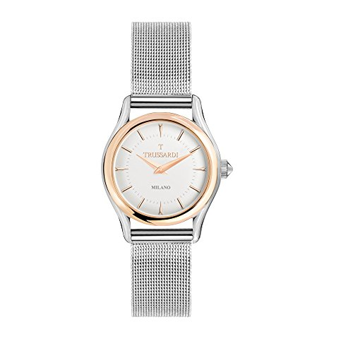 TRUSSARDI Women's T-Light Analog-Quartz Stainless-Steel-Plated Strap, Silver, 16 Casual Watch (Model: R2453127503) ()