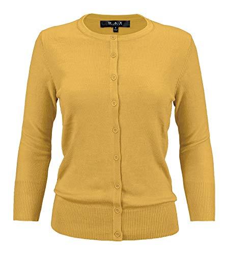 YEMAK Women's 3/4 Sleeve Crewneck Button Down Knit Cardigan Sweater CO079-HON-2X ()