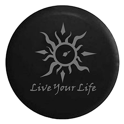 Live Your Life Tribal Sun Compass Spare Jeep Wrangler Camper SUV Tire Cover Gray Ink 33 in