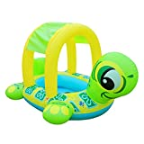 UClever Baby Inflatable Pool Float with Canopy Turtle Seat Boat Infant Swim Ring Swimming Beach Toy