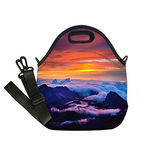 3D Print Neoprene Reusable Cooler Fashion Lunch Bag Haleakala National Park Crater Sunrise in Maui Hawaii Multicolor,for Adults and children waterproof Lunch Box
