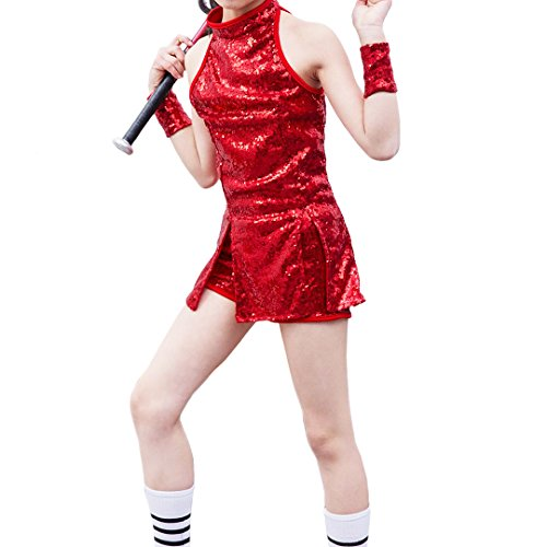 La moriposa Boys Girls Sequins School Hip-Hop Dance Performance Costume Accessory Vest T-shirt Shorts Wristlet Set(Girl-Red) by La moriposa