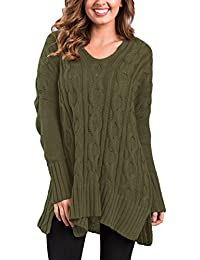 Women's Casual Knit Sweaters Cardigans V Neck Plus Size Loose Pullover