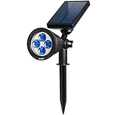 Amir Waterproof 180¡ã Angle Adjustable Auto On/Off Solar Spotlight, White