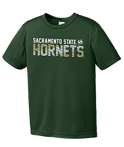 NCAA Cal State Sacramento Hornets Youth Boys Diagonal Short sleeve Polyester Competitor T-Shirt, Youth Large,ForestGreen