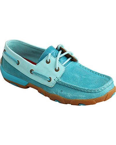 Blue On Ocean X WDM0039 Womens Casual Twisted Slip Leather Mocs Ocean Shoes Driving Blue 7FXSq