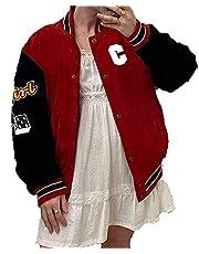 Honkbaljack met lange mouwen, letterprint, kleurblok, ritssluiting, oversized, retro jas, hip-hop uniform, bovenkleding