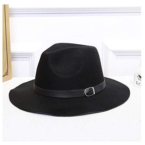 Beauty-OU Women Wide Brim Wool Felt Jazz Fedora Hats Panama Style Ladies Trilby Gambler Hat Fashion Party Cowboy Sunshade Cap,Black,56 58cm
