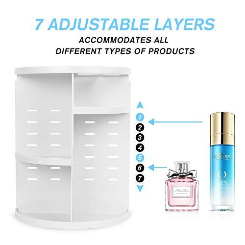 sanipoe 360 Makeup Organizer, DIY Detachable Spinning Cosmetic Makeup Caddy Storage DIsplay Bag Case Large Capacity Makeup Box Acrylic Vanity Organizer Box, Great for Countertop and Bathroom, White