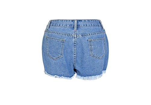 FuweiEncore Pantalon en Denim Skinny pour Femmes Zipper Jeans Taille Haute Jeans Hipster Skinny Jeans Pantalon d't avec Trous Bleu