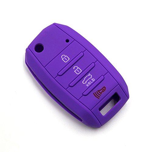 LIGHTKOREA 4Button Silicone FOB Folding Key Case Cover For Kia Optima Cerato Forte Rondo Carens Soul Sportage Rio Picanto (Purple)