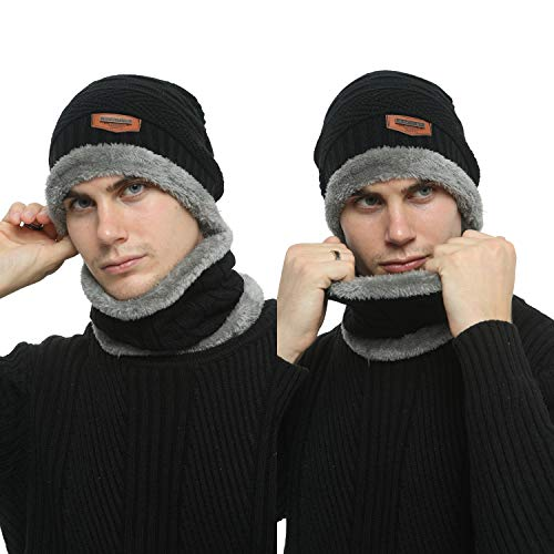 Men's 2-Pieces Winter Beanie Hat Scarf Set Warm Knit Hat Thick Fleece Lined Winter Cap Scarves for Men Women 7