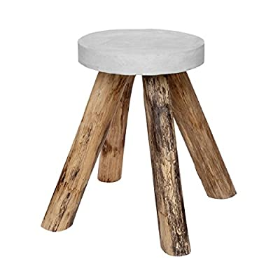 Vintage Side Table Teak Wood Concrete Stone Round Wood Coffee Table White Solid Natural Garden Furniture New + Brillibrum Flyer