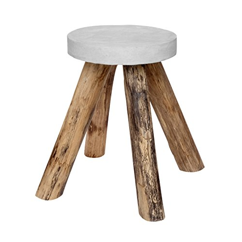 Vintage Side Table Teak Wood Concrete Stone Round Wood Coffee Table White Solid Natural Garden Furniture New + Brillibrum (Natural Stone Cocktail Table)