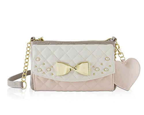 Betsey Johnson Pink Flower (Betsey Johnson Quilted Diamond Trifold Travel Wallet Crossbody Bag)