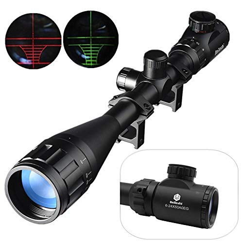Beileshi 6-24X50mm AOEG Optics Hunting Rifle Scope Red/Green Illuminated Crosshair Gun Scope With Flip Up Scope Covers