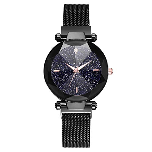 WoCoo Womens Starry Quartz Analog Watch Crystal Convex Dial Wristwatch with Stainless Mesh band Fashion Watches(Black,4 Scales)