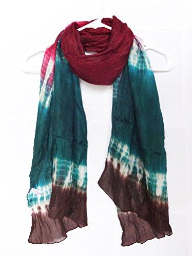 (100% Habotai Silk Hand Tie Dyed Crinkled Scarf 21