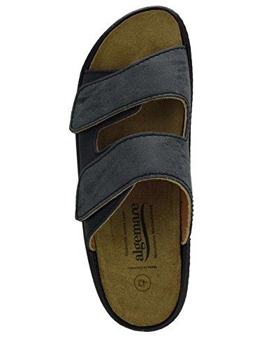 Algemare Herren Pantolette Leder Algen-Kork Wechselfußbett waschbar Nubuk Veluret 72602_2188 Herstellung in Deutschland, Größe:46