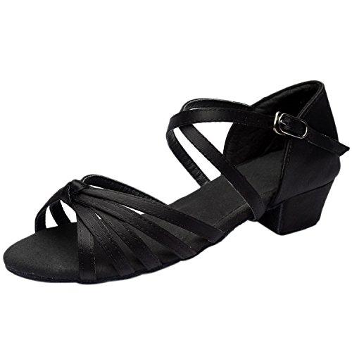 Azbro Mujer Sandalías Baile Latín Tacones Gruesos Correa Cruzada Puntera Abierta Negro