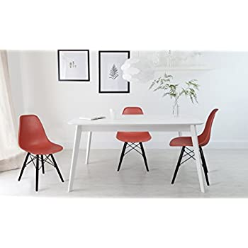 GIA Russet Red Armless Home Office/Side Dining Chair(Set of 4) - Eames Style - Wood Legs - Seat Height 18 inch - Weight Capacity of 300+ Pounds - Easy Assembly - Extra Durable and Comfortable