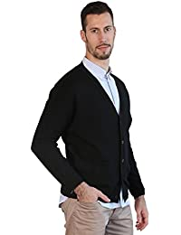 Mens Black Cardigan 100% Merino Wool Knitted Classic Sweater V-Neck Button UP