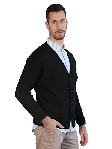 13dbb57b4 Mens Black Cardigan 100% Merino Wool Knitted Classic Sweater V-Neck ...