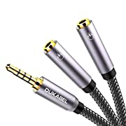 Headphone Splitter, Strong Braided & Gold-Plated 3.5mm Stereo Audio Y Splitter Cable 4-Pole Male to 2-Female Port Audio Stereo Cable Dual Headphone Jack Adapter -DuKabel Top Series