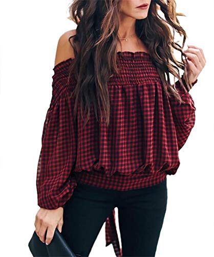- NRTHYE Sexy Pleated Plaid Shirt Women Puff Sleeve Off The Shoulder Blouse Tunic Tops